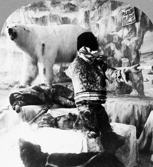 WORLD'S FAIR: ESKIMOS. An exhibit depicting an Eskimo fighting a polar bear, with