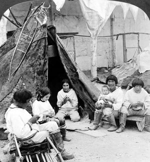 WORLD'S FAIR: ESKIMOS. An exhibit depicting a typical scene in an Eskimo village