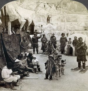 WORLD'S FAIR: ESKIMOS. An exhibition depicting an Arctic village with Eskimos