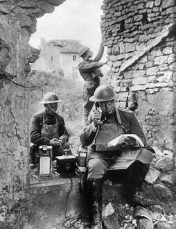 WORLD WAR I: TELEPHONE, c1917. Communications officers operate a field telephone