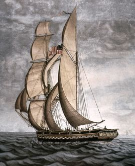 YACHT, 1816. George Crowninshield Jr.'s yacht Cleopatra's Barge launched in 1816