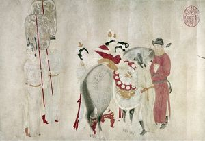 Yang Kuei-fei, concubine of Emperor Ming Huang (712-756), mounting a horse