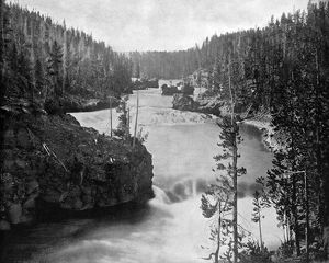 YELLOWSTONE RIVER, c1890. Rapids on the Yellowstone River above the falls. Photograph