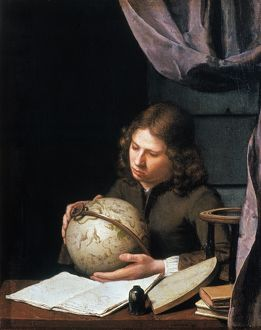 YOUNG ASTRONOMER. Leyden School. Oil on oak, second half of 17th century.