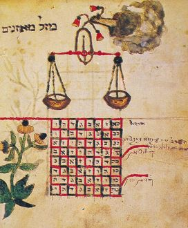 ZODIAC SIGN: LIBRA, 1716. Drawing from a Hebrew book about the Jewish calendar, 'Sefer Evronot