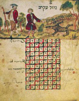 ZODIAC SIGN: SCORPIO, 1716. Drawing from a Hebrew book about the Jewish calendar